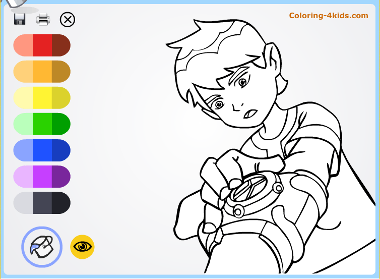 Ben Ten with clock coloring pages online
