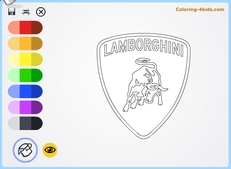 Lamborgini Logo Coloring Pages Online Cars Logos Coloring Pages