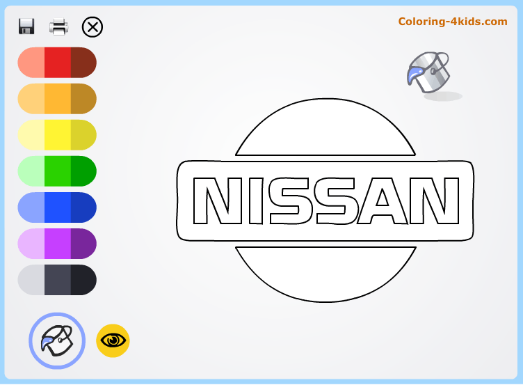 Nissan logo coloring pages online (cars logos coloring pages)