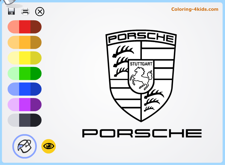 Porsche logo coloring pages online (cars logos coloring pages)