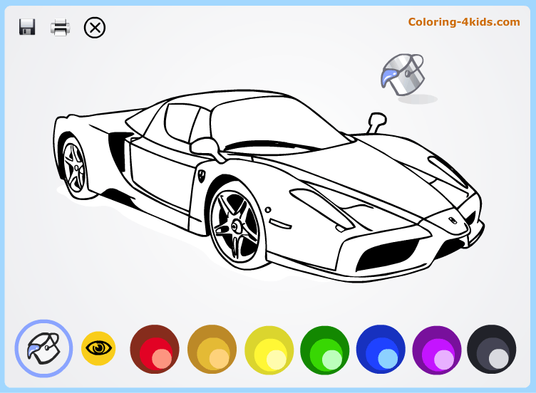 Cool cars - coloring pages online for kids Ferrari