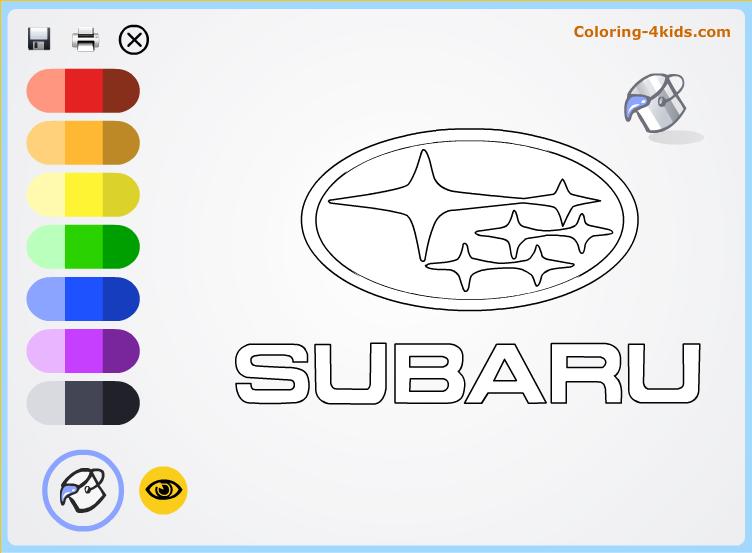 Subaru logo coloring pages online