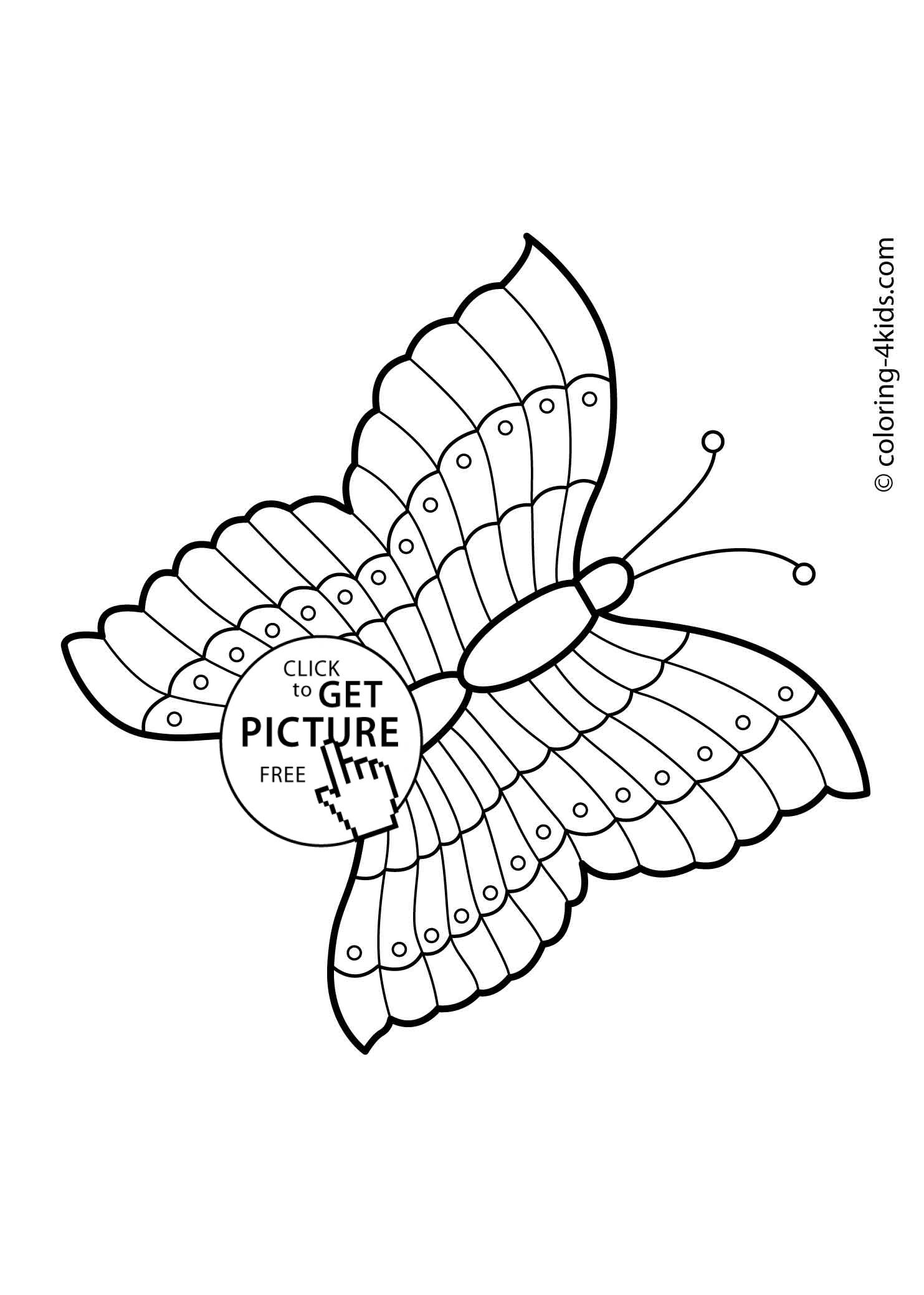 Butterfly coloring pages for kids, printable