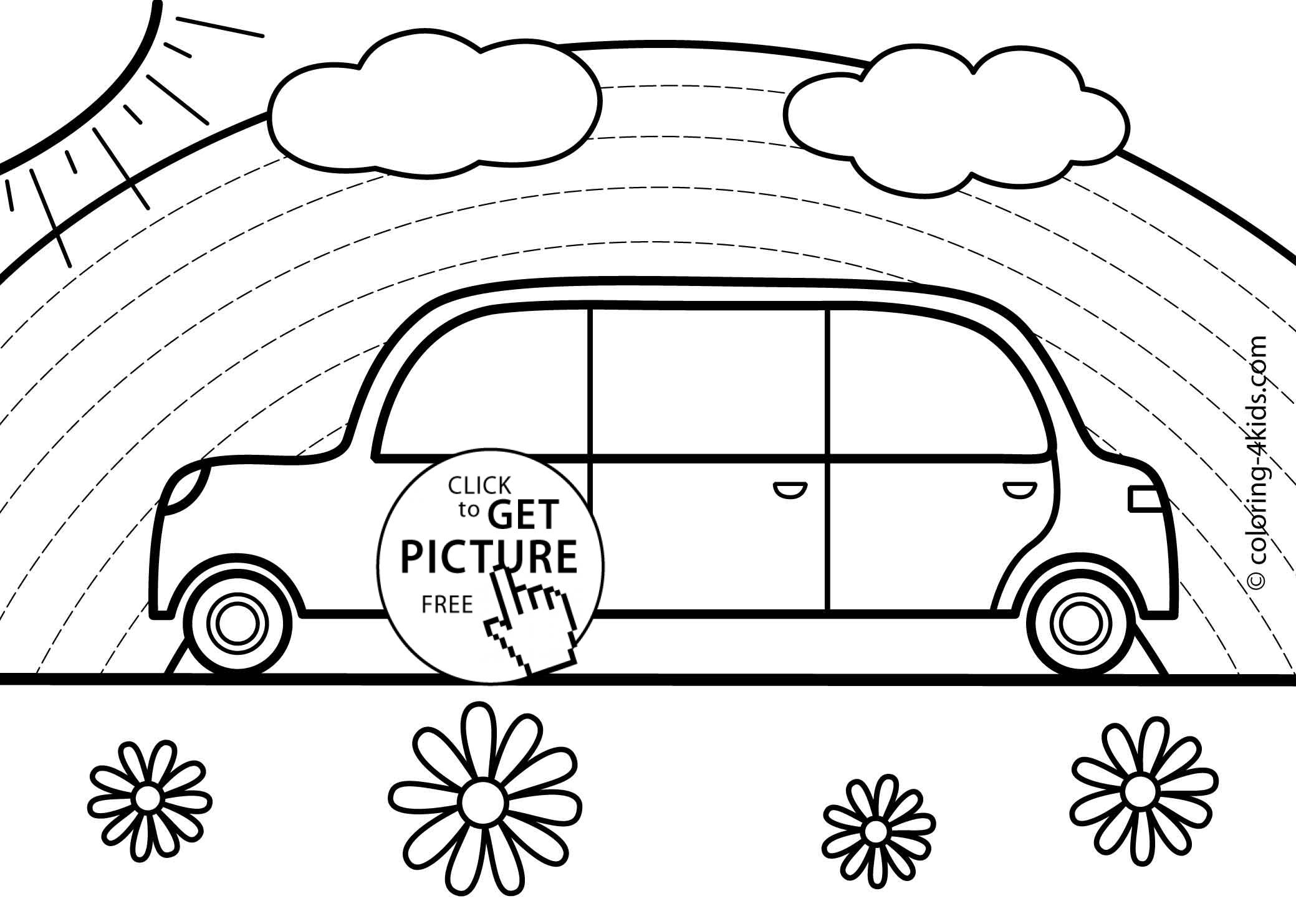 Rainbow Car transportation coloring pages for kids, printable