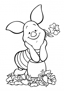 Winnie Pooh piglet coloring page for kids free printable