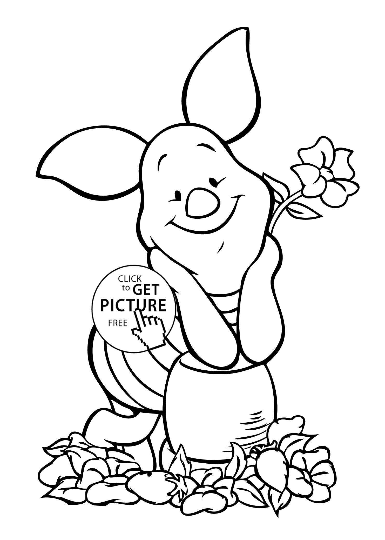Winnie pooh piglet coloring page for kids free printable for Piglet coloring pages