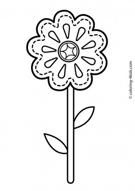 Flower coloring pages for kids, printable, 8