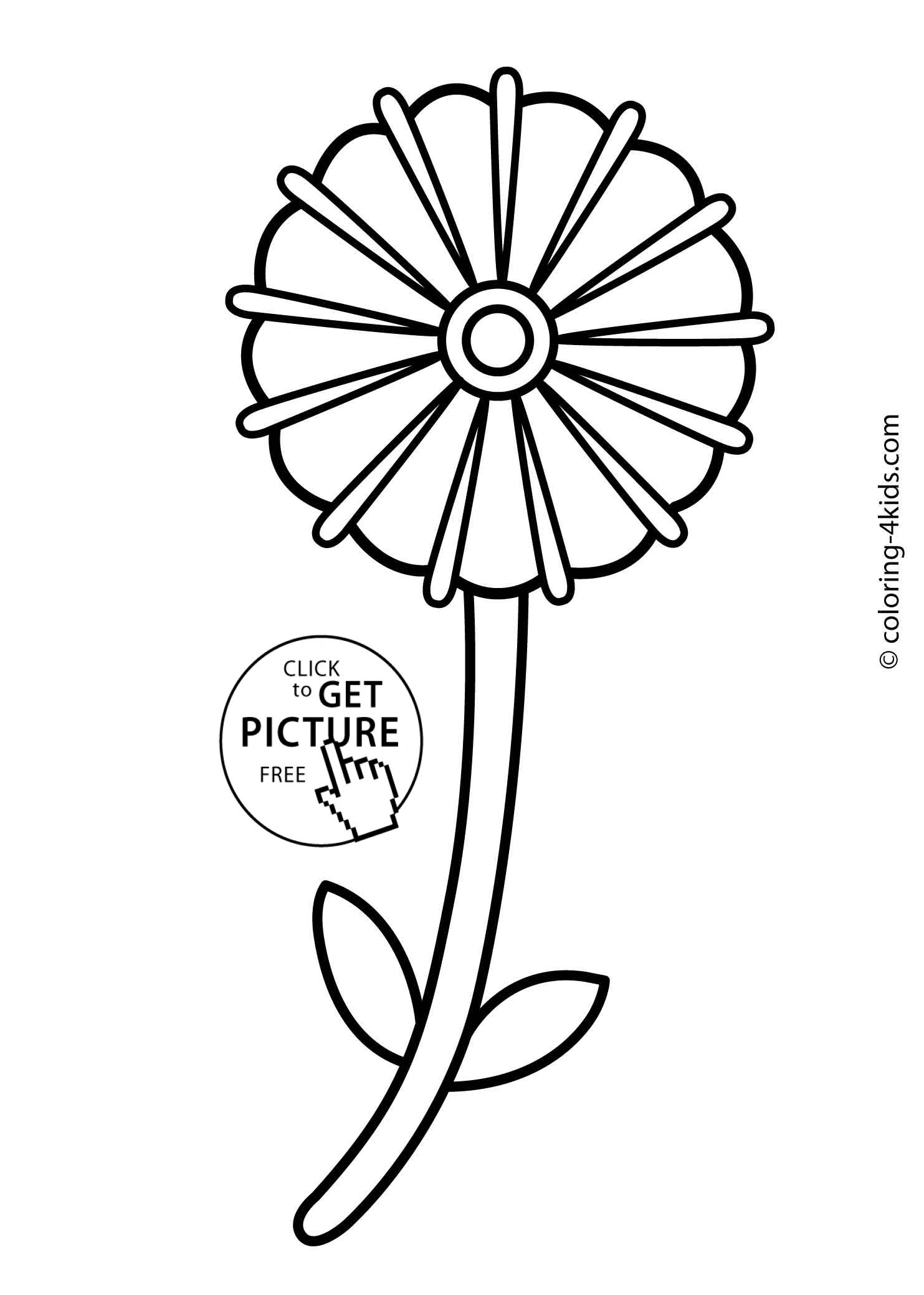 Flower coloring pages for kids, printable, 9