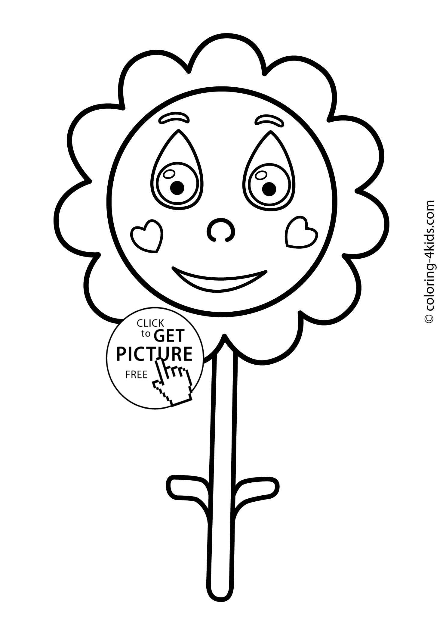 Flower coloring pages for kids, printable, 10 | coloing-4kids.com
