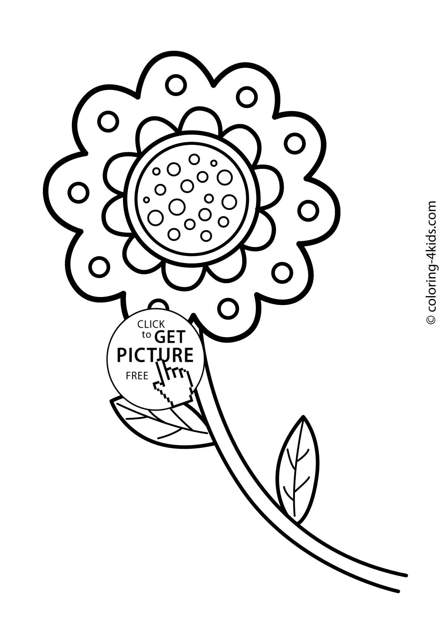 Flower coloring pages for kids, printable, 11