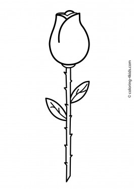 Rose bud flower coloring pages for kids, printable free