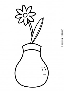 Flowers coloring pages for kids, printable, 1
