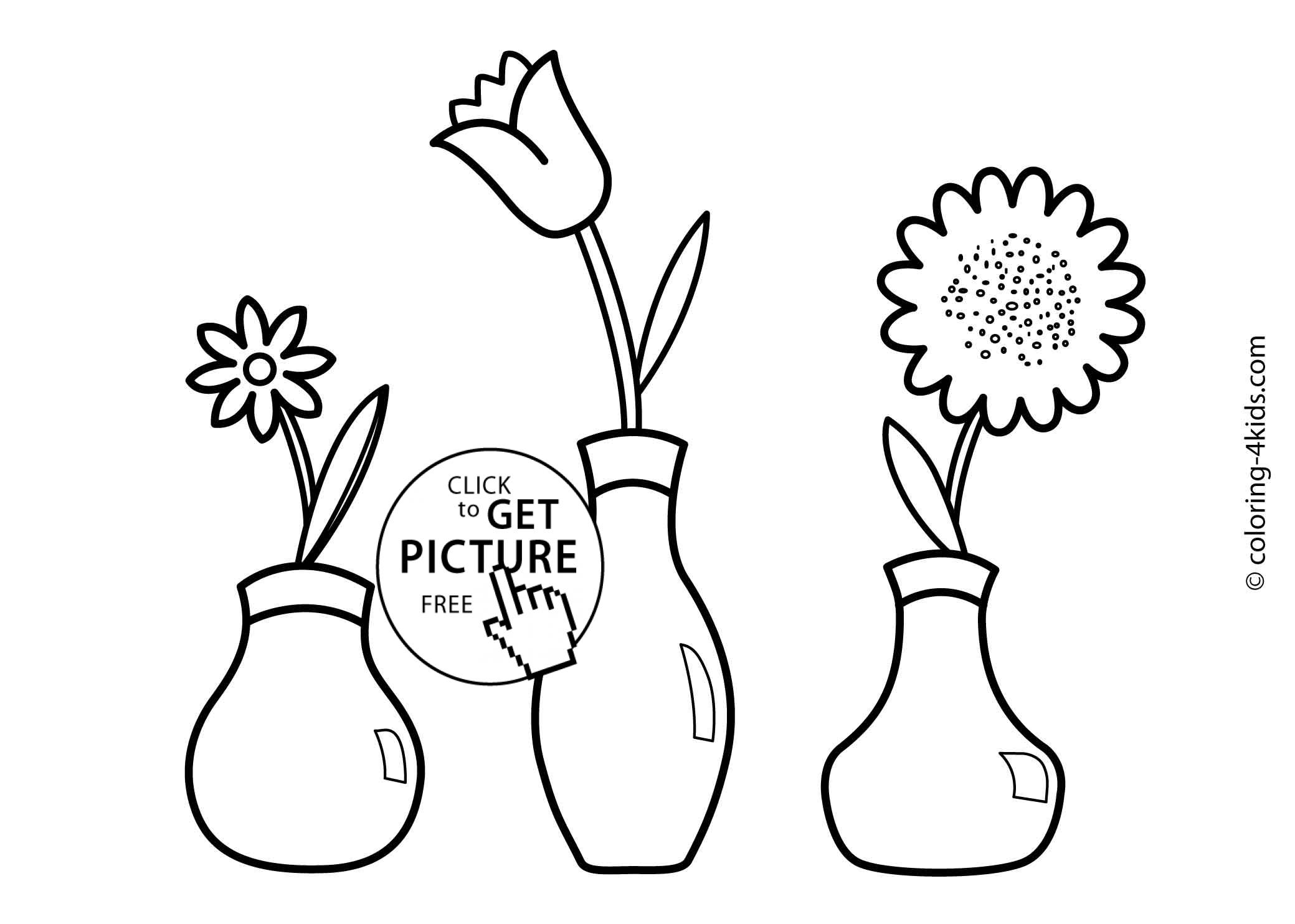 Three flowers coloring pages for kids, printable, 4