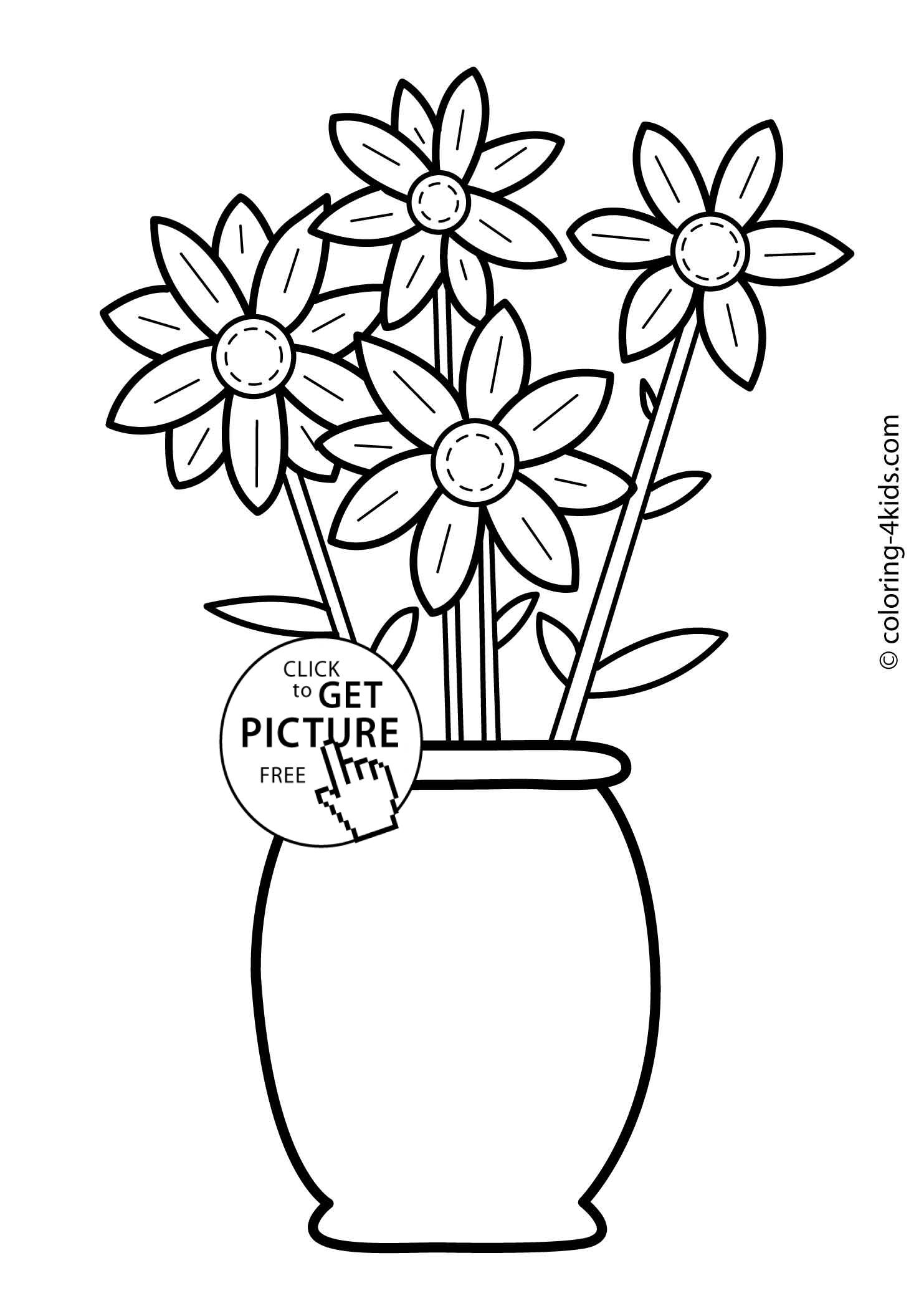 Flowers coloring pages for kids, printable, 6