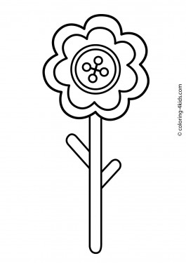 Flower coloring pages for kids, printable, 7