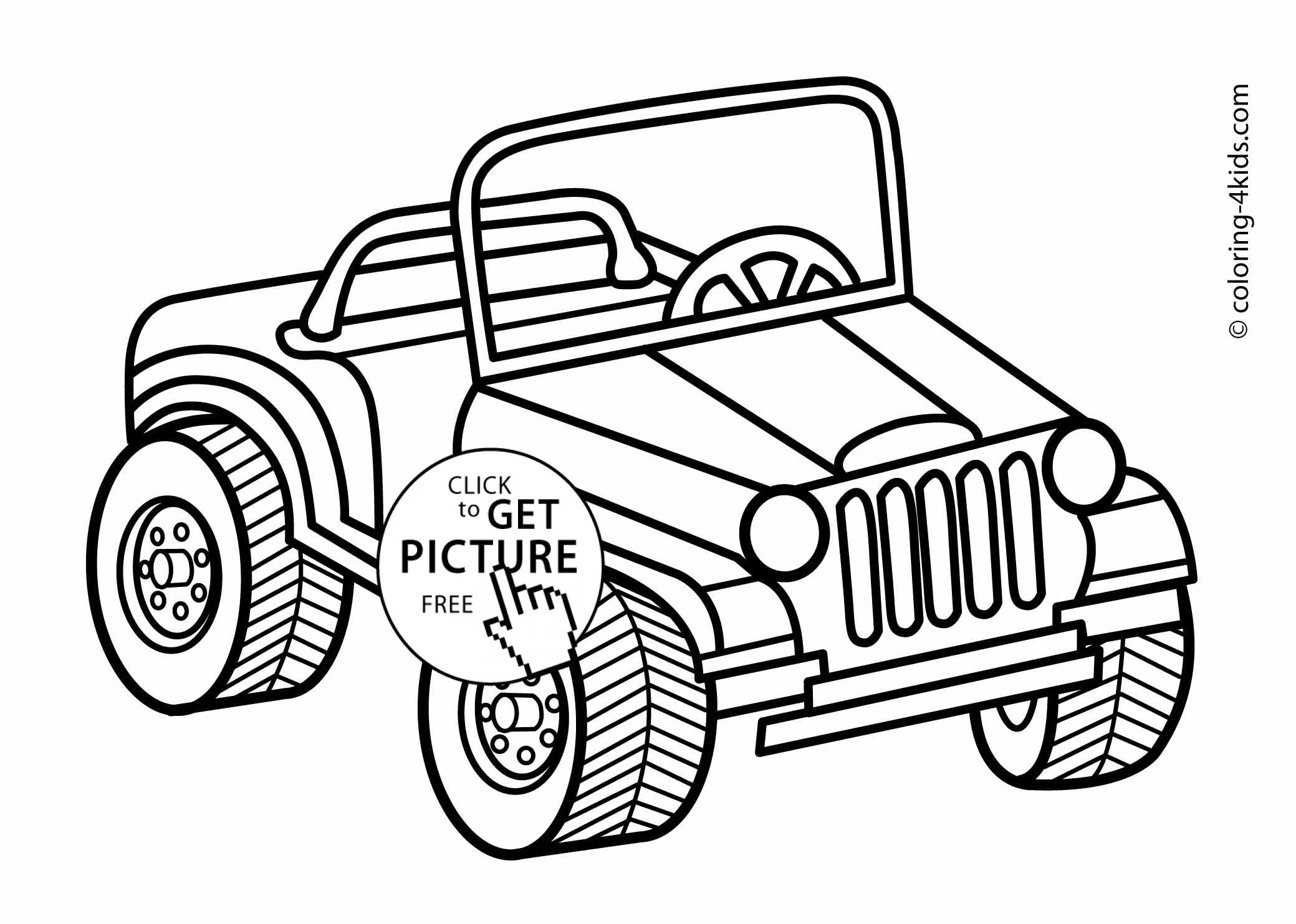 Jeep transportation coloring pages for kids, printable