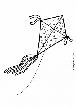 Kite coloring pages for kids, printable drawing
