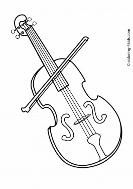 Violin musical instruments coloring pages for kids, printable