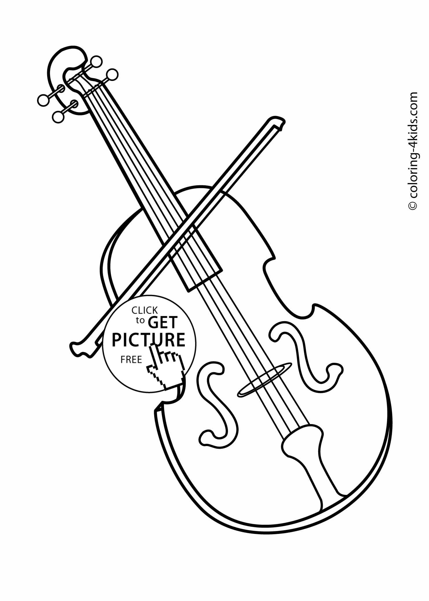 violin musical instruments coloring pages for kids printable