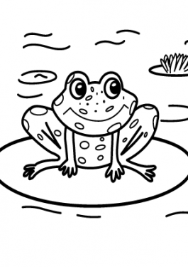 Frog nature coloring page for kids, printable free