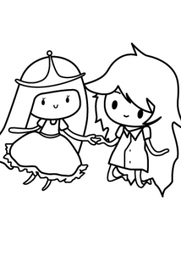 Princesse Bubblegum and Marceline coloring page for girls, printable