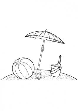 Summer beach coloring pages for kids, free, printable