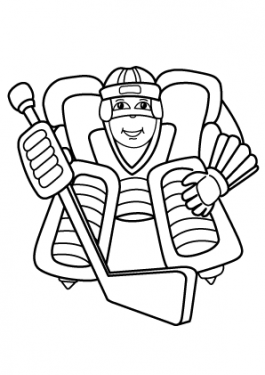 Hockey sport coloring page for kids, printable free