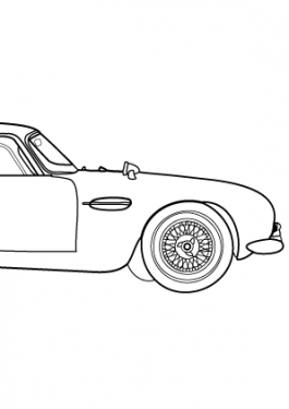 Super car Aston martin DB5 coloring page for kids, printable free