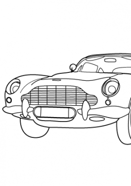 Super car Aston martin DB5 coloring page for kids 2, printable free