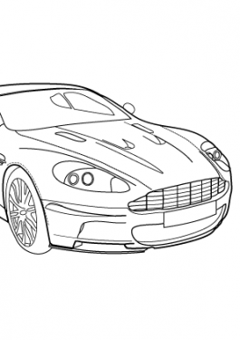 Super car Aston martin DBS v12 coloring page for kids 4, printable free