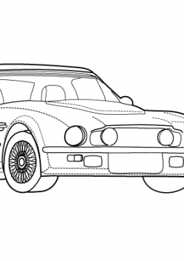 Super car Aston martin V8 vantage coloring page for kids 5, printable free