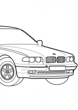 Super car BMW 750iL coloring page for kids, printable free