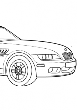 Super car BMW Z3 coloring page for kids, printable free