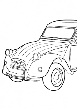 Super car Citroen 2cv coloring page for kids, printable free