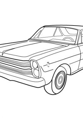 Super car Ford Galaxie 500 coloring page for kids, printable free