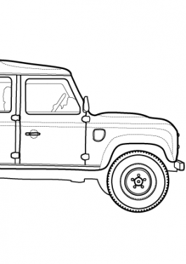 Super car Land Rover Defender coloring page for kids, printable free