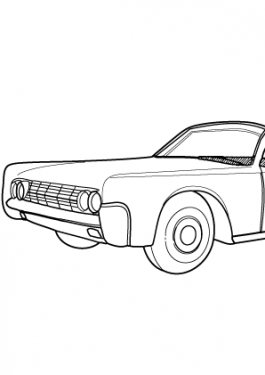 Super car Lincoln Continental convertible coloring page for kids, printable free