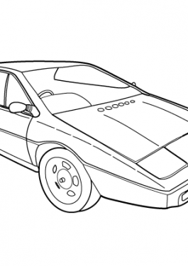 Super car Lotus Esprit S1 coloring page for kids, printable free