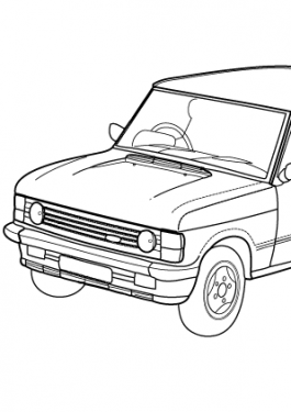 Super car Range Rover Classic Convertible coloring page for kids, printable free