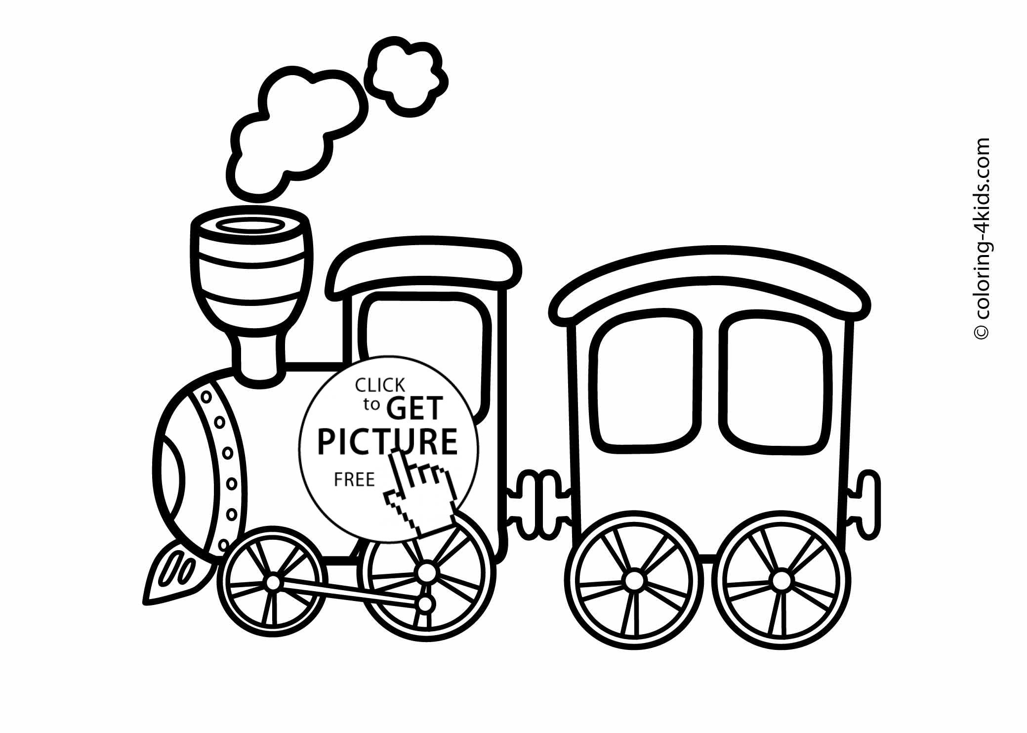 Train transportation coloring pages for kids printable for Coloring page of a train