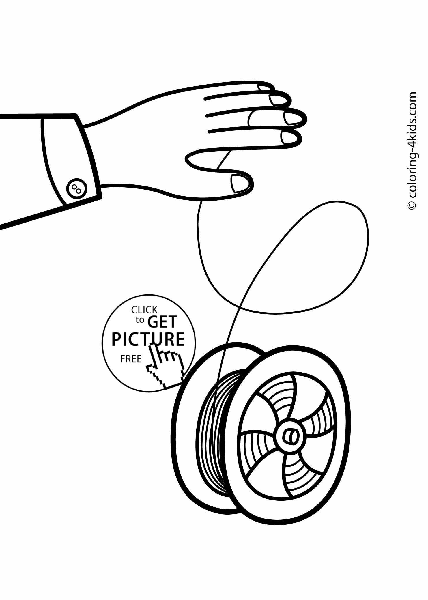 Yo-yo coloring pages for kids, printable drawing