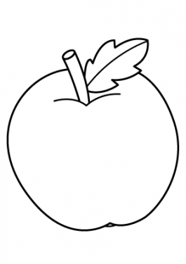 Apple Fruits coloring pages simple for kids, printable free