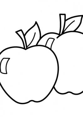 Two Apple Fruits coloring pages simple for kids, printable free