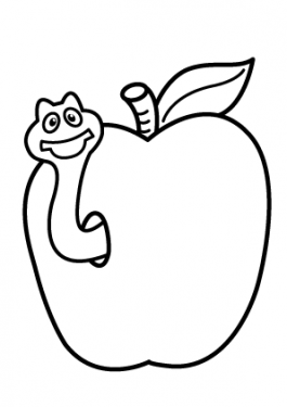 Apple with worm Fruits coloring pages simple for kids, printable free