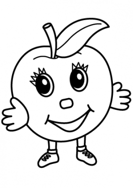 Apple character Fruits coloring pages simple for kids, printable free