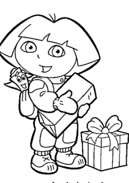 Dora coloring pages with gifts for kids printable free