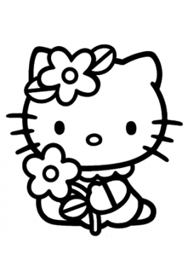 Hello kitty flowers coloring pages for kids printable free