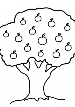 Nature apple tree coloring page for kids, printable free