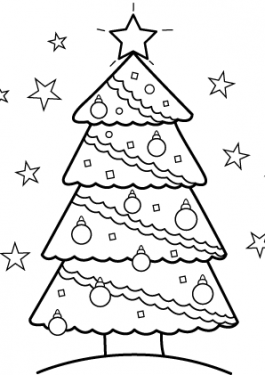 Christmas tree coloring page for kids, printable free