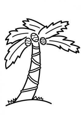 Nature - palm tree coloring page for kids, printable free